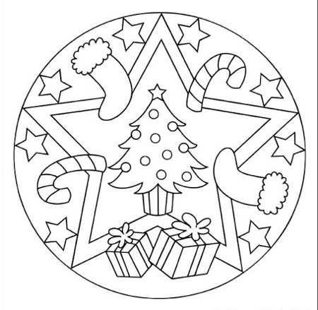 Mandala Navidad 5 Mandalas Navidenas Mandalas Para Ninos Paginas Para Colorear De Navidad
