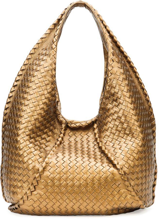 a71eb8e547 Bottega Veneta Cervo Large Metallic Hobo Bag