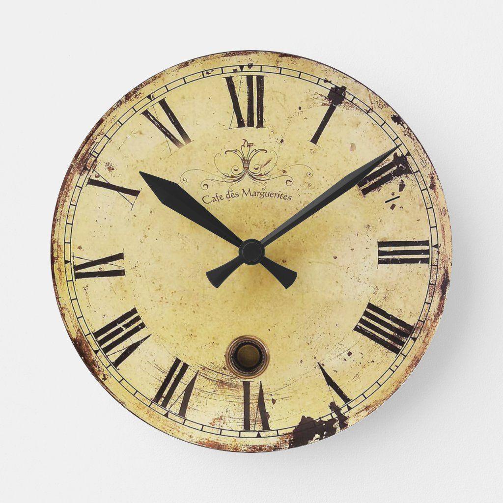 Vintage Shabby Chic Wall Clock Zazzle Com In 2020 Vintage Wall Clock Wall Clock Wooden Shabby Chic Wall Clock