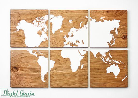 Large wood grain world map print collection custom large wall art large world map woodgrain painting large wall art rustic home decor gumiabroncs Images