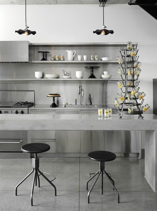 Concrete Island With Stainless Steel Kitchens Kitchen