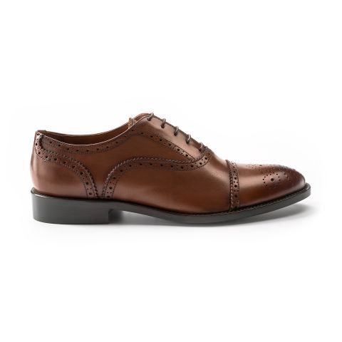 Semi Brogue Skora Cieleca Cognac Partenope Buty Wloskie Zapatos