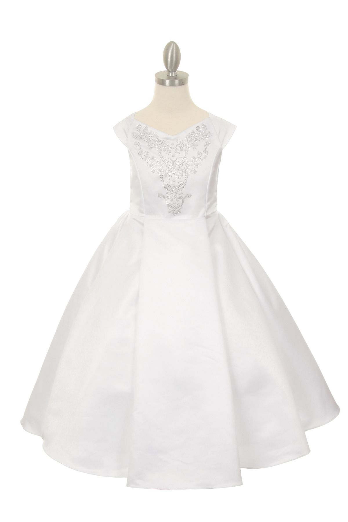 03f08e38e8 Millie  White Flower Girl Communion DressWhite Flower Girl Communion Dress  This white communion dress is made from wedding quality matte satin and  features ...
