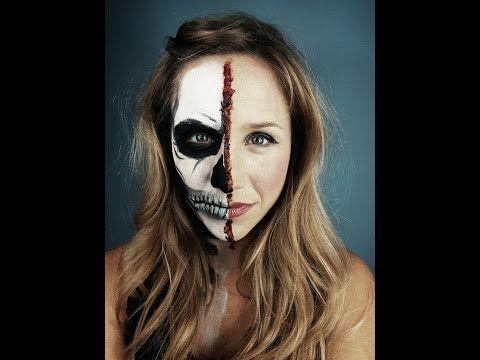 Half Skeleton Half Human Face Halloween Makeup Tutorial | My ...