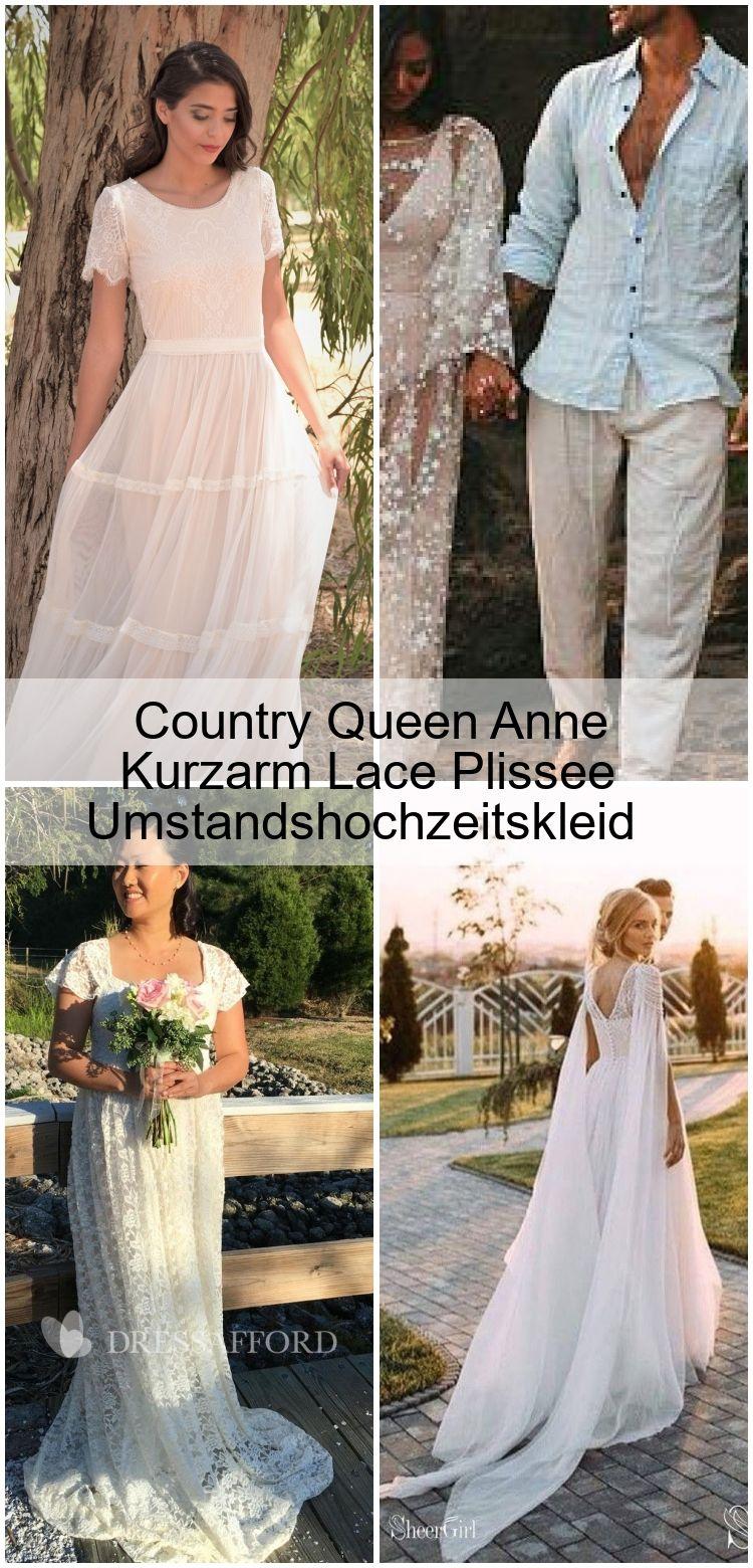 Country Queen Anne Kurzarm Lace Plissee Umstandshochzeitskleid in