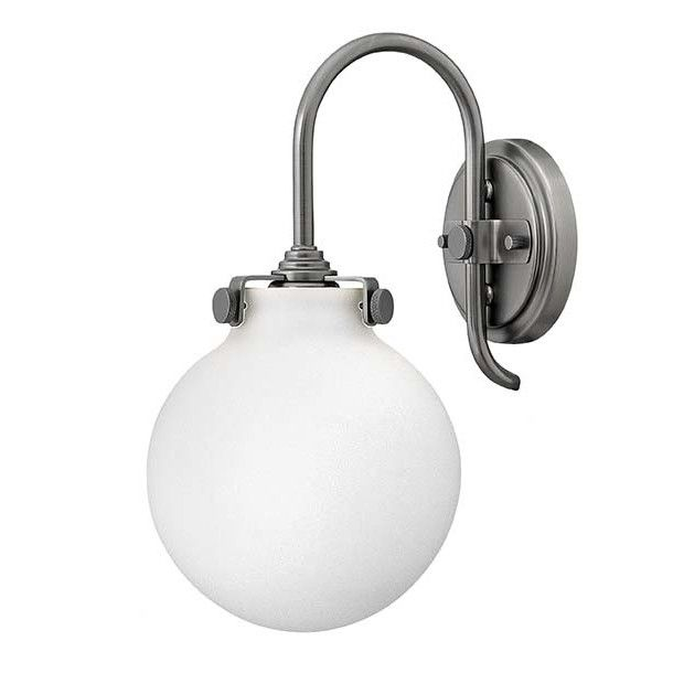 Hinkley lighting 3173 1 light indoor wall sconce with etched opal globe shade from the congress collection antique nickel grey