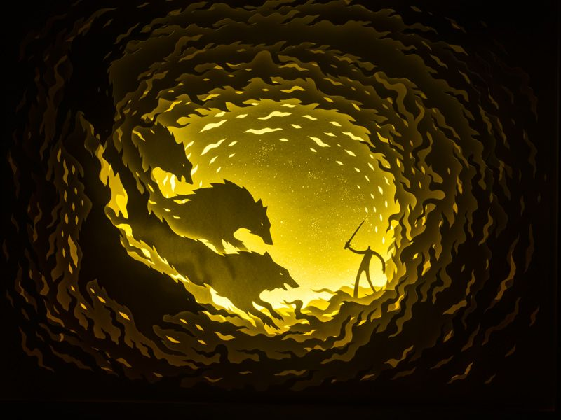 Illuminated Cut Paper Light Boxes by Hari & Deepti paper illustration dioramas. ~~~ Click the pic for more of these mind-blowing dioramas.