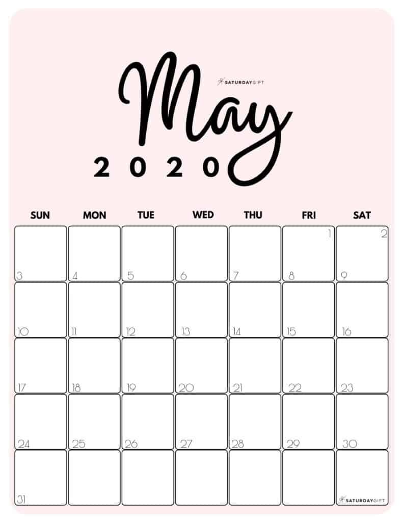 Printable 2020 Calendar By Month In 3 Cute Colors Saturdaygift In 2020 Calendar Printables Calendar Design Calendar