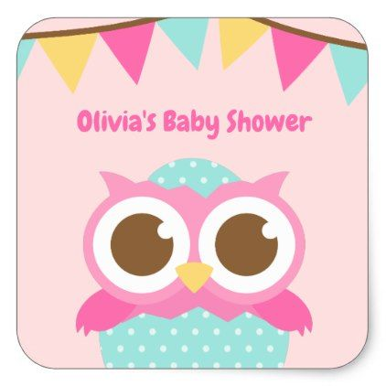 Egg pink owl baby girl shower stickers egg pink owl baby girl shower stickers baby shower ideas party babies newborn gifts negle Image collections
