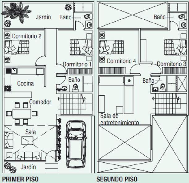 planos de casas de dos pisos 120 mt
