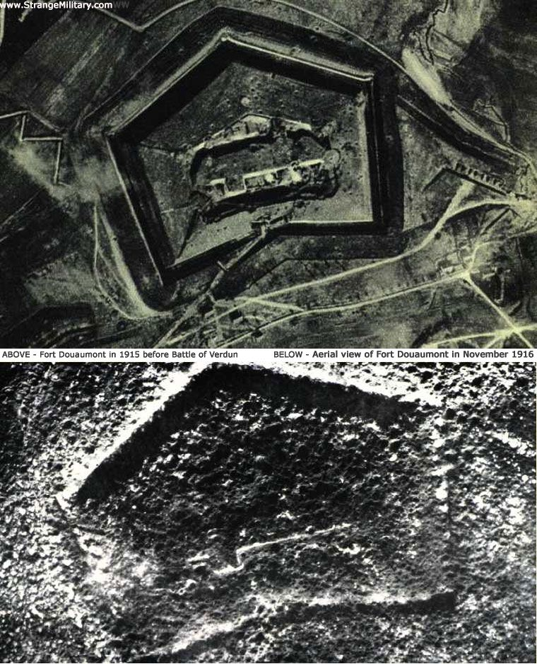 Top photo is of Fort Douaumont in 1915 before the Battle of Verdun. Bottom is of Fort Douaumont in 1916 after the battle started.