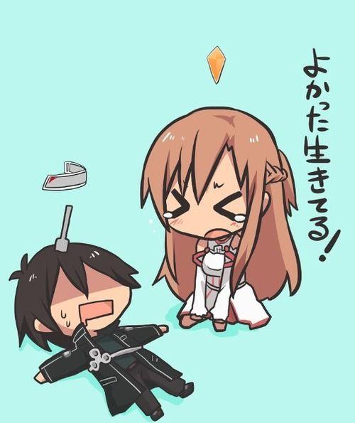 Chibi Kirito and Asuna from Sword Art Online