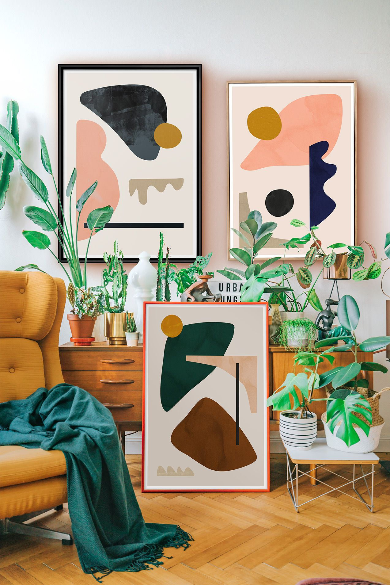 Modern abstract art and plants   Modern art abstract, Minimalist ...