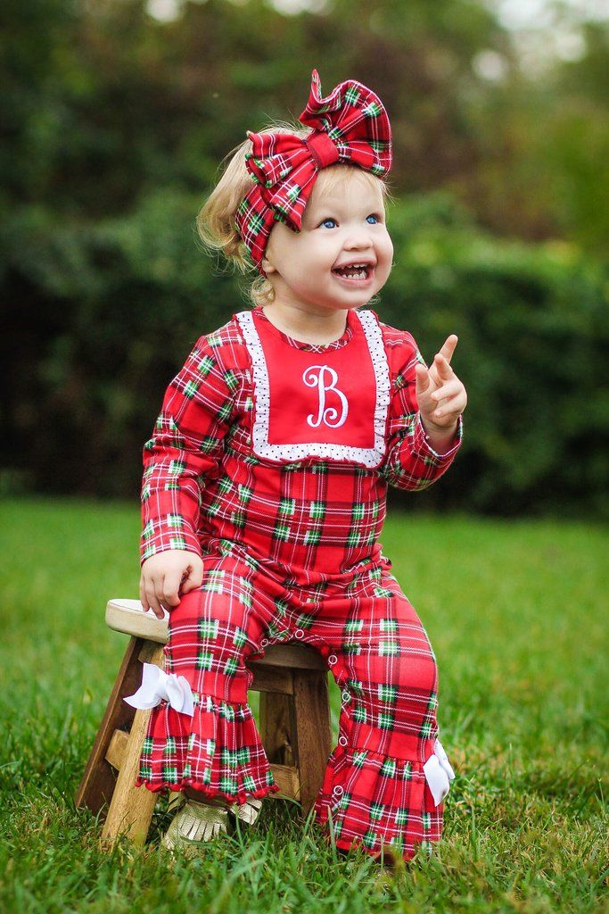 3801f399b2b8 Christmas Morning GIRLS Plaid Romper – Ricrac   Ruffles
