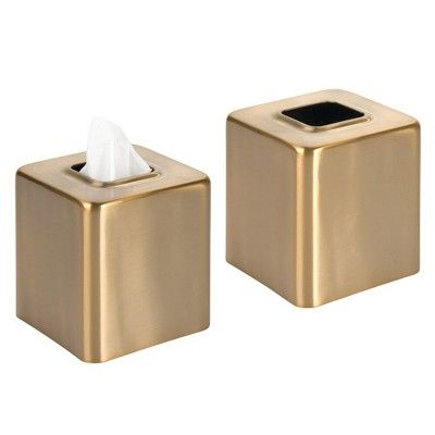 mDesign Square Facial Tissue Box Cover Holder Bathroom Vanity Counter Tops a