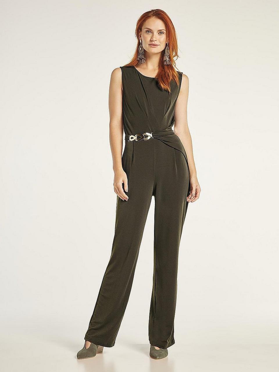 Heine Style eleganter schwarzer Overall Jumpsuit mit Goldapplikationen