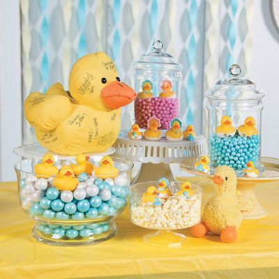 Rubber Ducky Baby Shower Candy Buffet Table Decorating Idea.