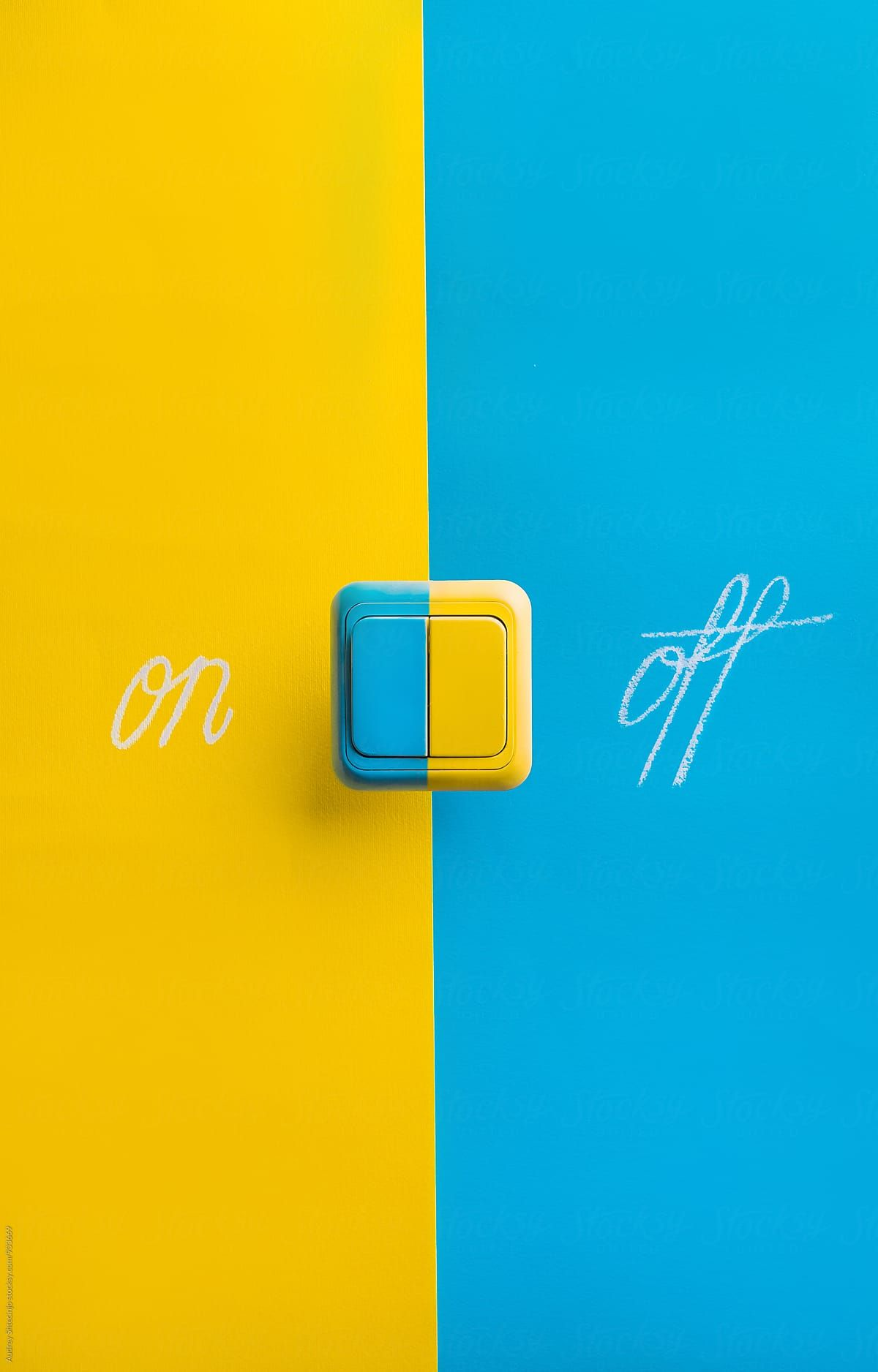 Switch For Turning Light Or Device On Or Off On Yellow And Blue Background By Audrey Shtecinjo For Sto Blue Wallpaper Iphone Yellow Aesthetic Blue Backgrounds