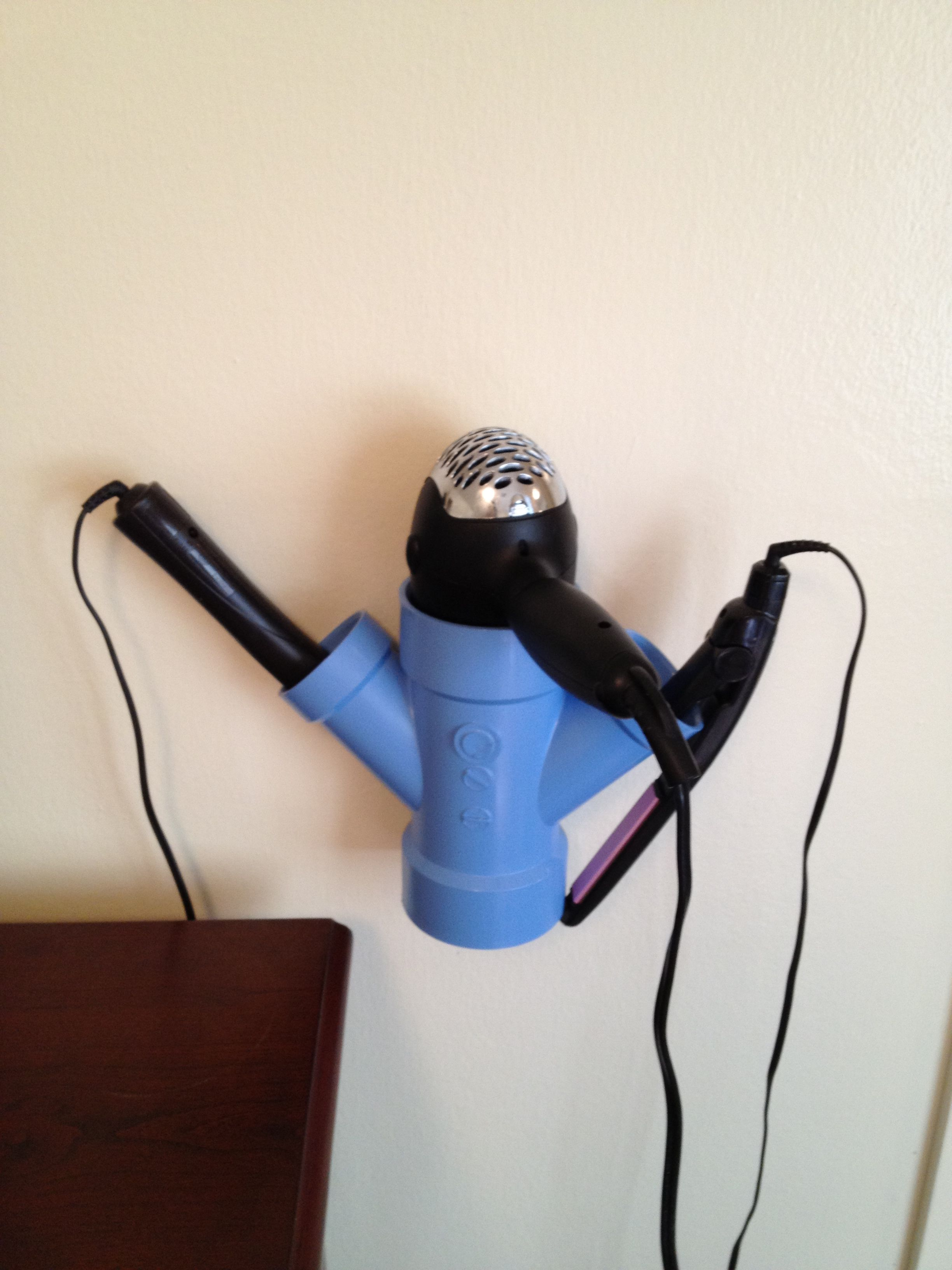 PVC pipe hair dryer straightener and curling wand holder PVC pipe