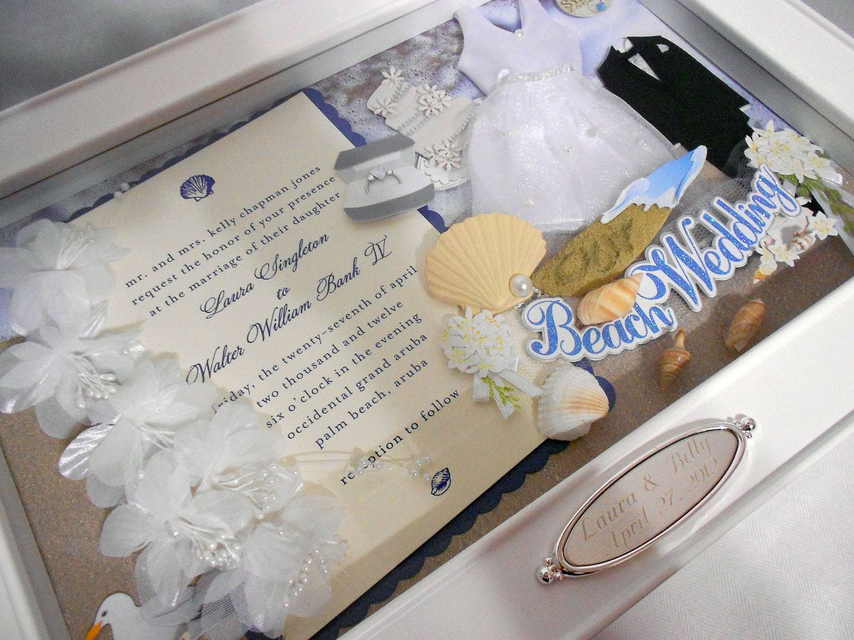 BEACH WEDDING Wedding Invitation Keepsake Box With Engraved Name Plate