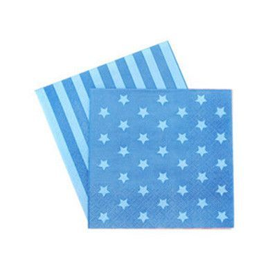 Navy and Blue Stripe and Star | Paper Napkins