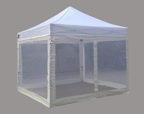 Eurmax Standard Ez Pop Up Canopy With Four 4 Screen Walls And Wheeled Bag Bonus Awning 10x10ft White Top With White Canopy Tent Outdoor Canopy Canopy Frame