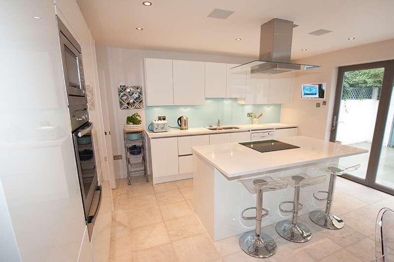 White High Gloss Island Kitchen