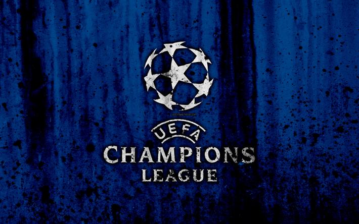 Download Wallpapers Uefa Champions League 4k Logo Grunge Blue Background Uefa Champions League Logo Besthqwallpapers Com Champions League Logo Uefa Champions League Champions League