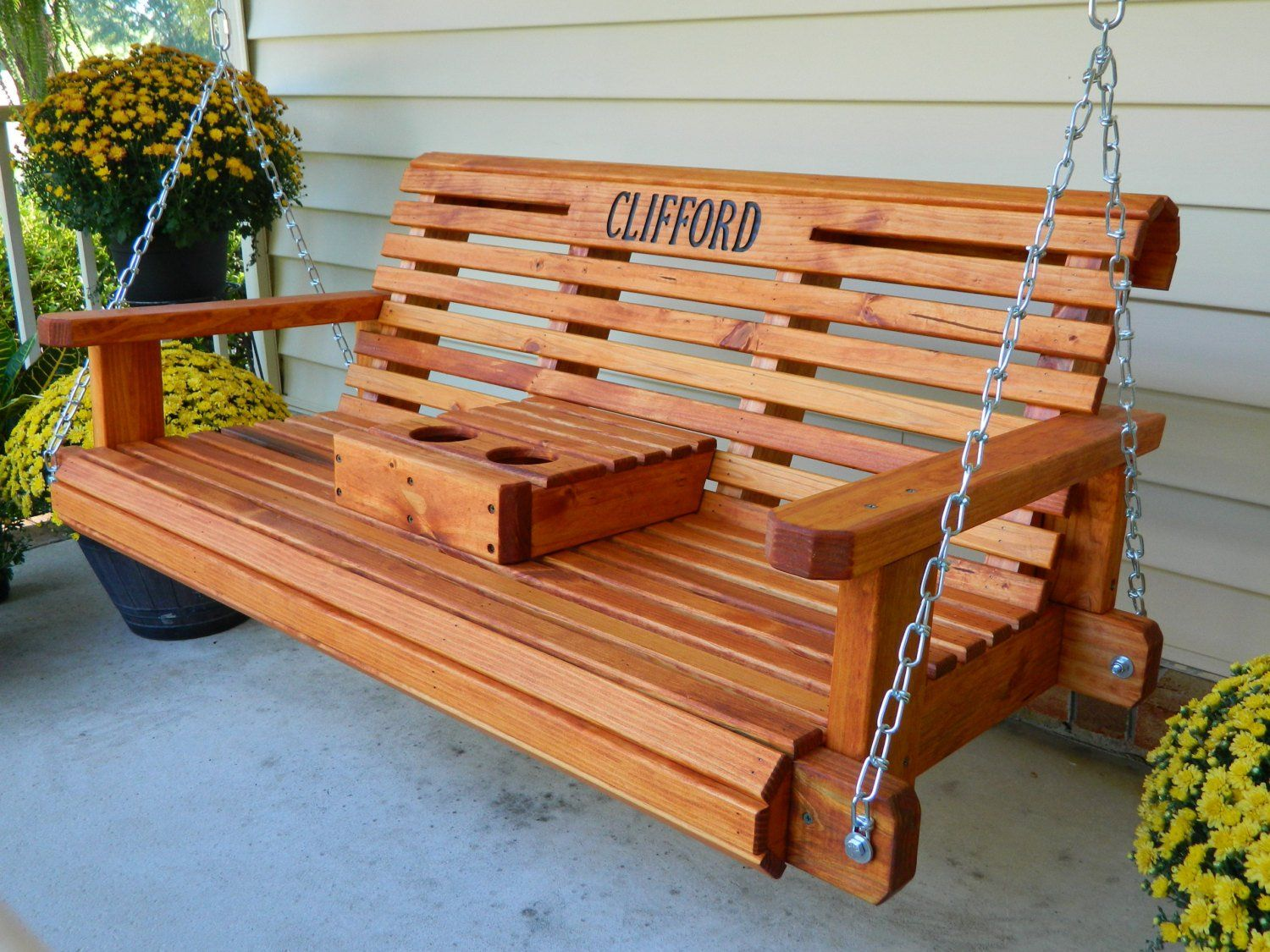 4ft Porch Swing Solid Wood Patio Swing Housewarming Gift