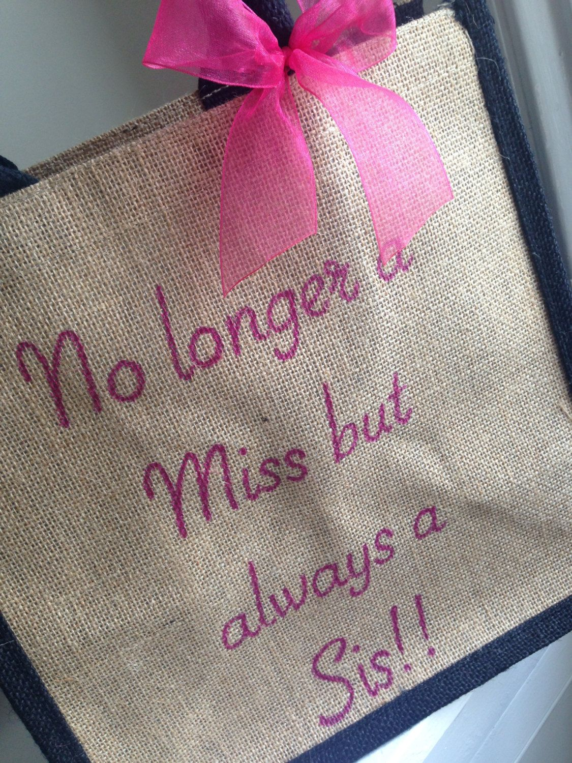 Wedding Day Tote Bag for Sister 'No longer a Miss but