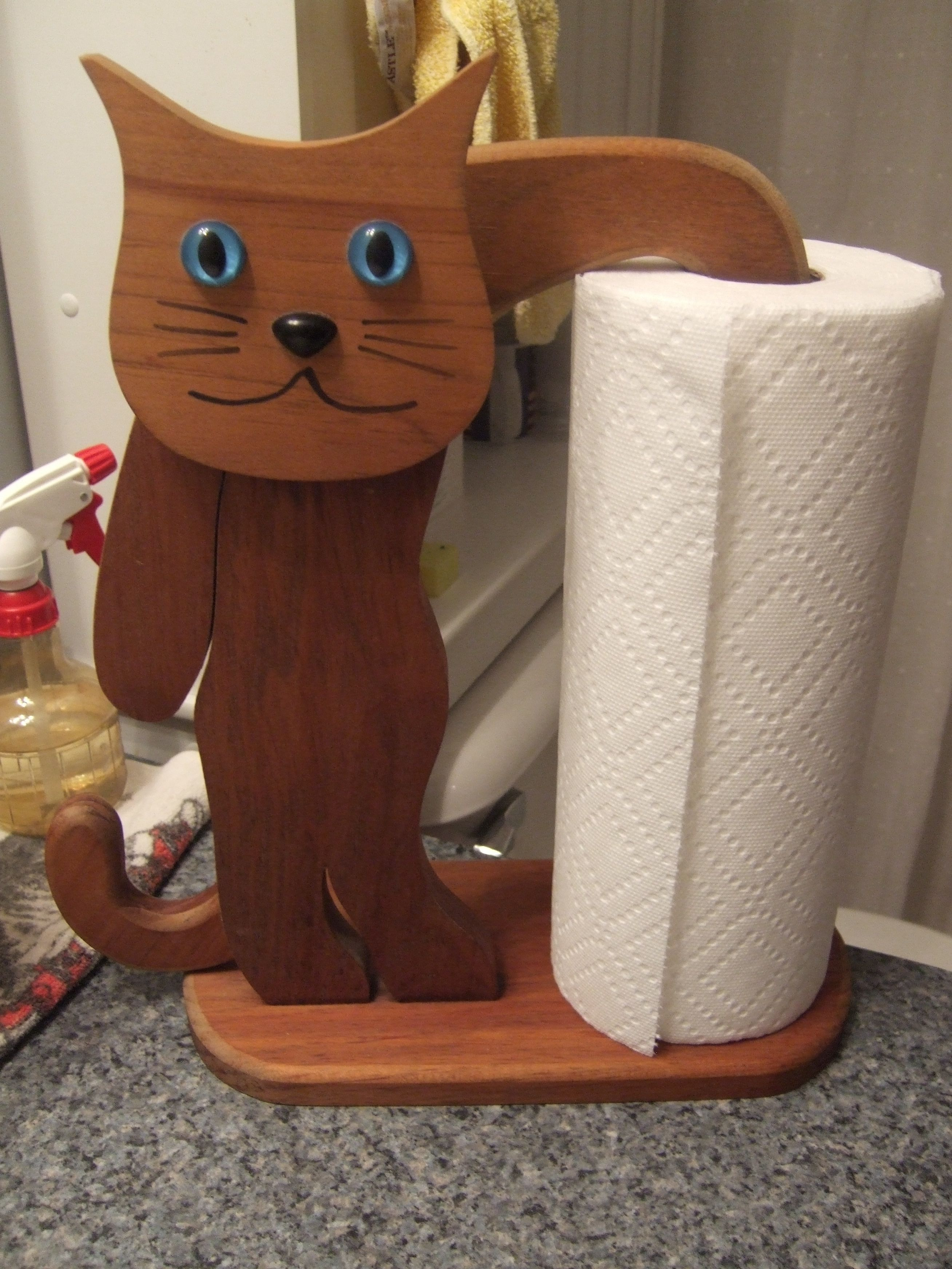 I found this paper towel holder at a yard sale. It freaks AJ out. I have to put ..., #freaks...