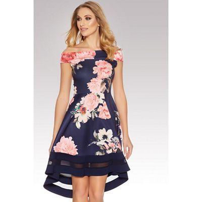 Quiz Navy And Pink Flower Print Bardot Dip Hem Dress