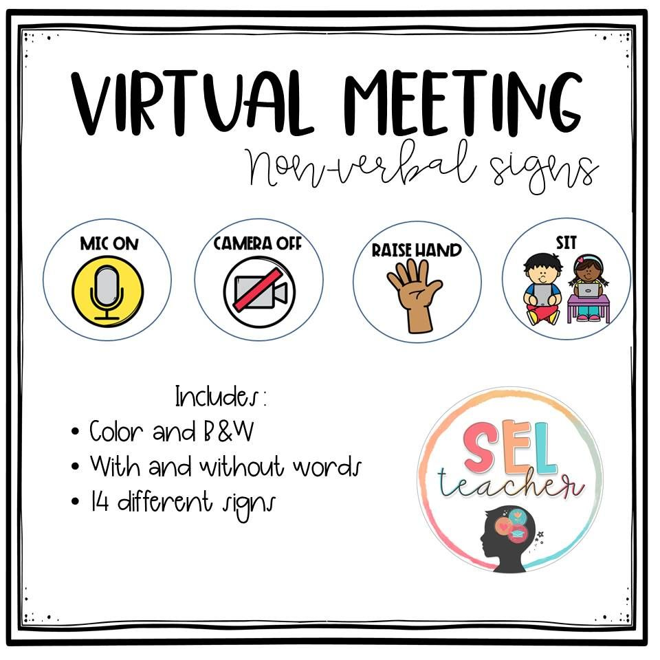 Virtual Meeting Non Verbal Signs Social Emotional Learning Distance Learning Virtual