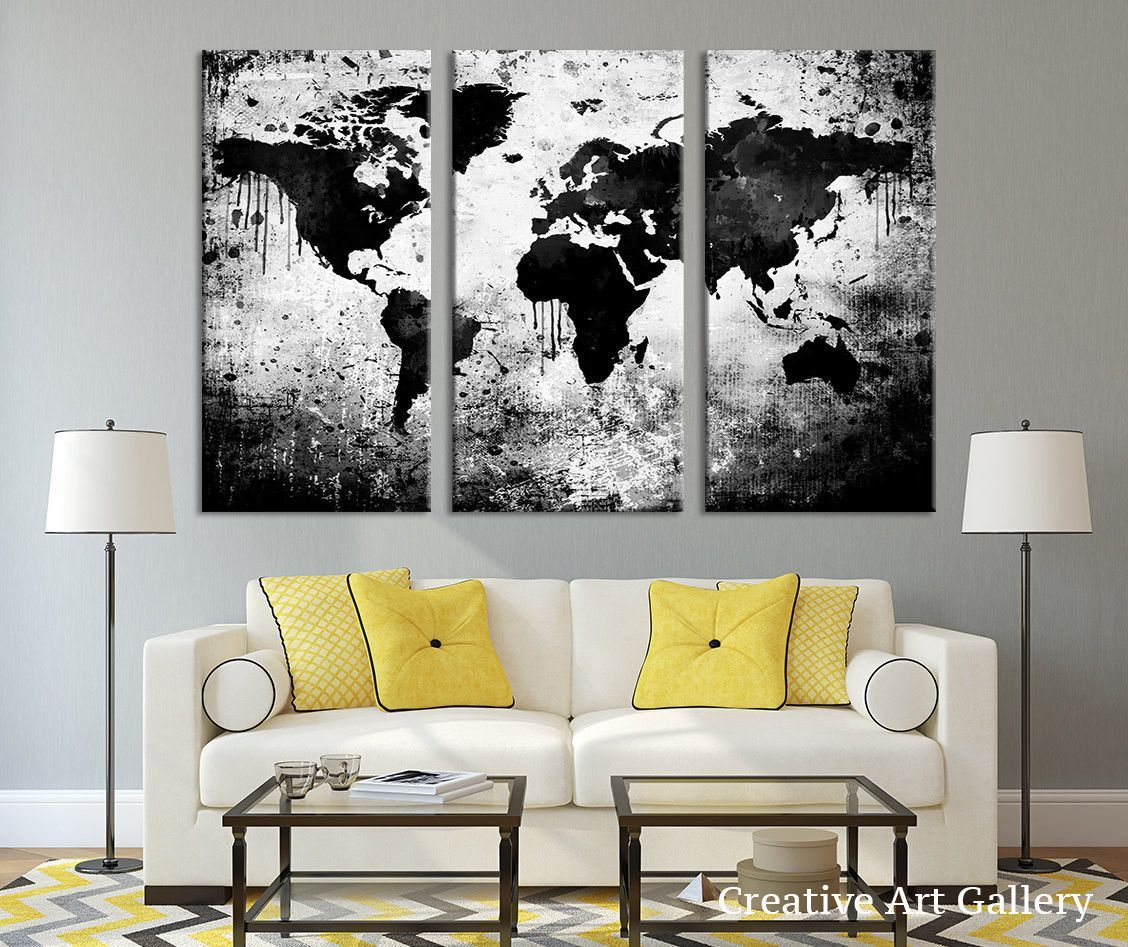 Large triptych art black white world map canvas print large world large triptych art black white world map canvas print large world map gumiabroncs Choice Image