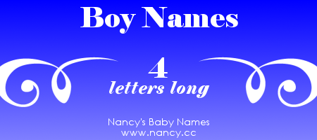 4 Letter Boy Names | Baby Names   Helpful Info | Boy names, Baby