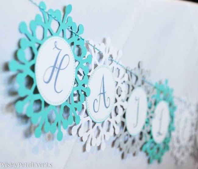 Frozen Birthday Banner Printable Frozen Banner Party By: Winter Wonderland Snowflake Banner Closeup