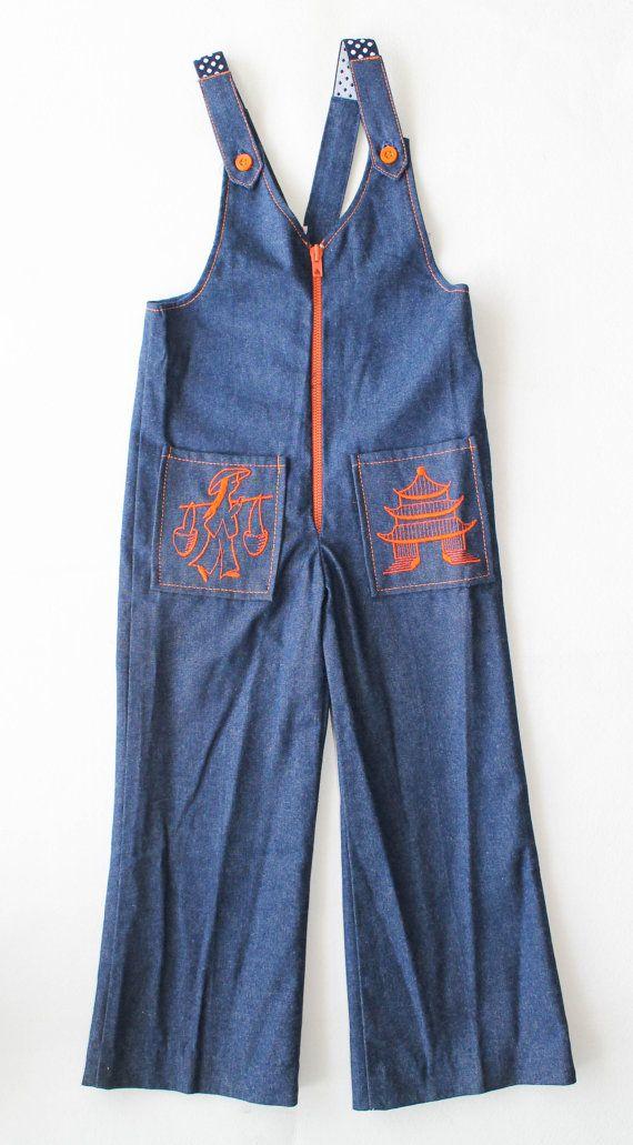 Salopette/combinaison en jean enfant des années 1970