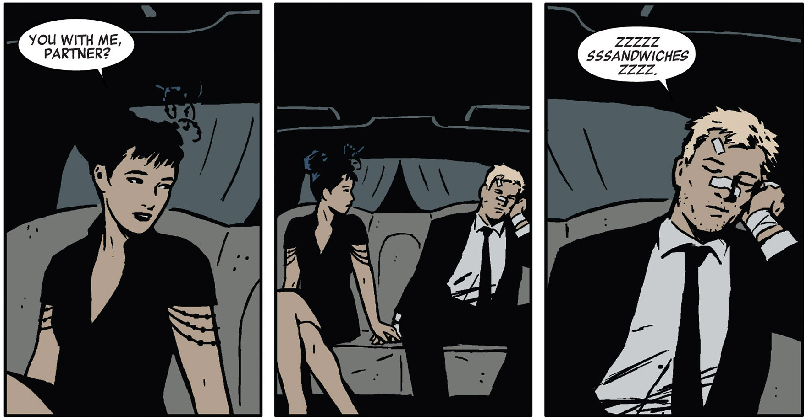 Kate and Clint. HAWKGUY #13. Best comic currently being produced anywhere. Art by David Aja from a script by Matt Fraction.