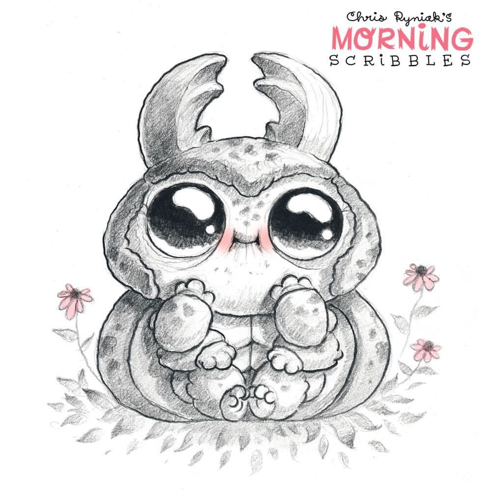 Baby Beetle Morningscribbles With Images Monster Drawing
