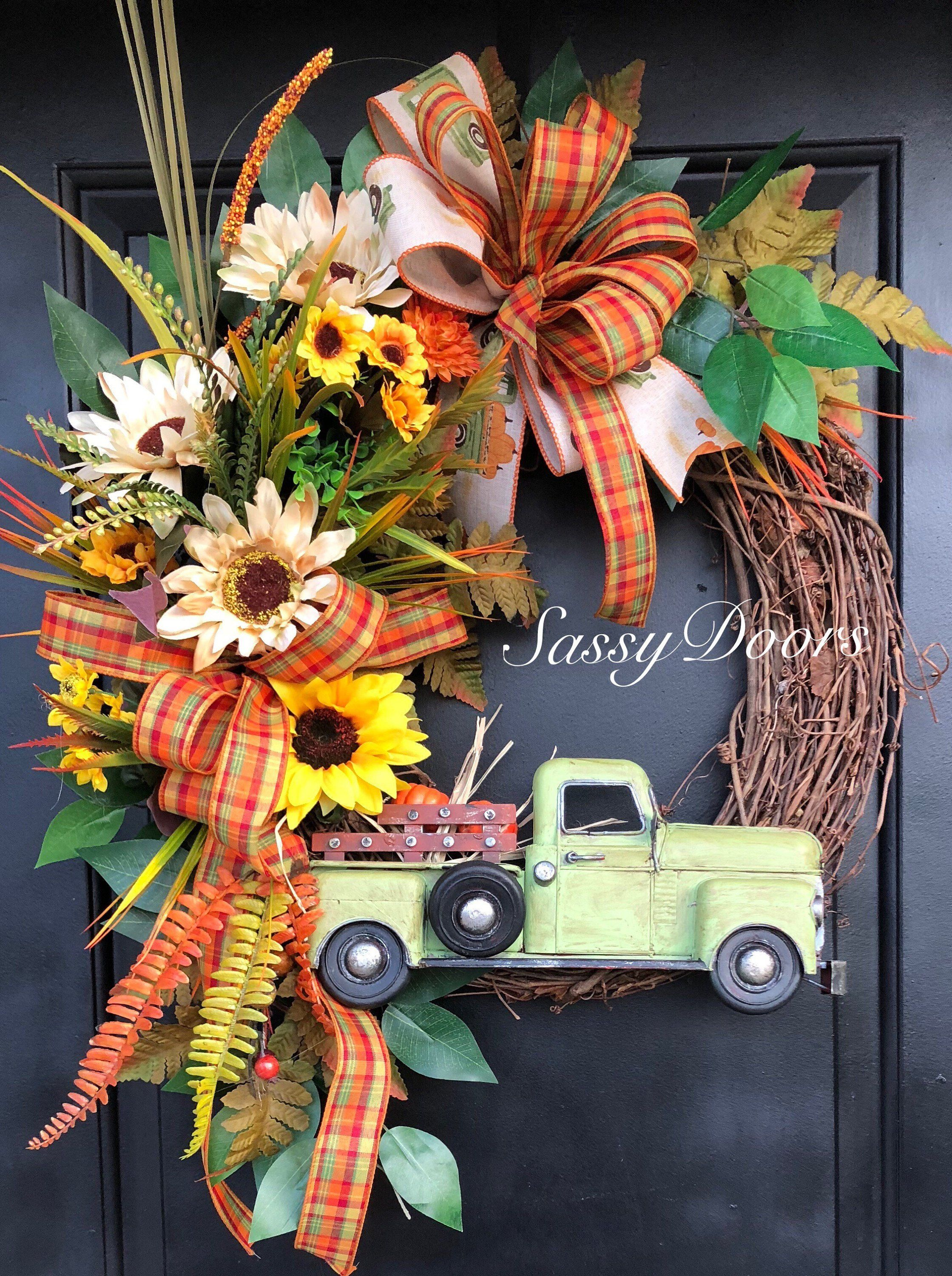 Photo of Fall Wreath, Red Truck, Fall Truck Wreath, Fall Farmhouse Wreath, Fall Grapevine Wreath, Sassy Doors Wreath,Farmhouse Wreath, Fall Front Doo