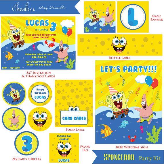 Customized Spongebob Digital Printable Birthday By Chesilou Party