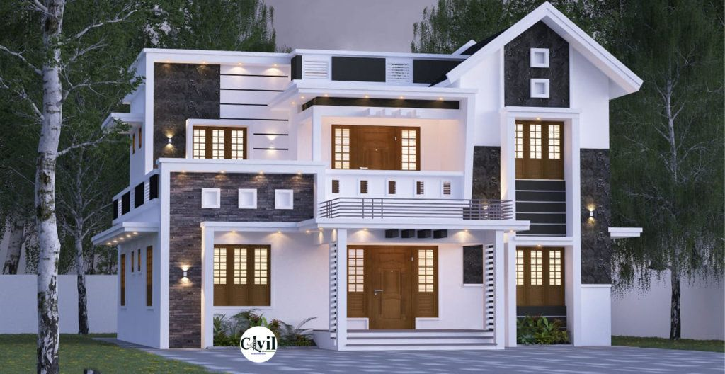 2000 Sq Ft 5BHK Contemporary Style Two Storey House With Free Plan Engineering Discoveries