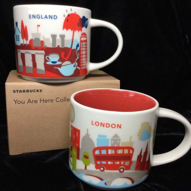 Starbucks England London Yah Mug Set Stonehenge Big Ben Bus