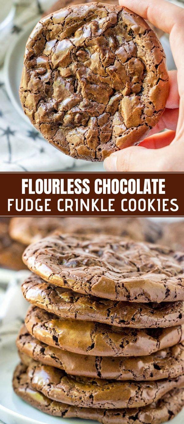 Flourless Chocolate Fudge Crinkle Cookies -