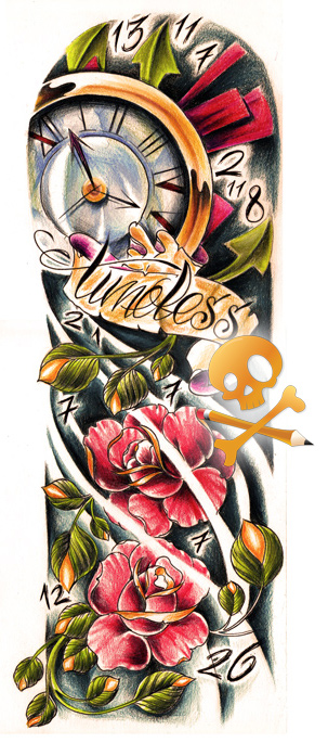 Commission Timeless Color By Willem On Artician Clock Tattoo Design Timeless Tattoo Fake Tattoo Sleeves