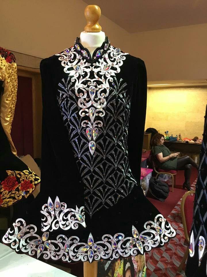 f129c34b95345 Black and silver metallic Irish dance solo dress | Irish Dance dress ...