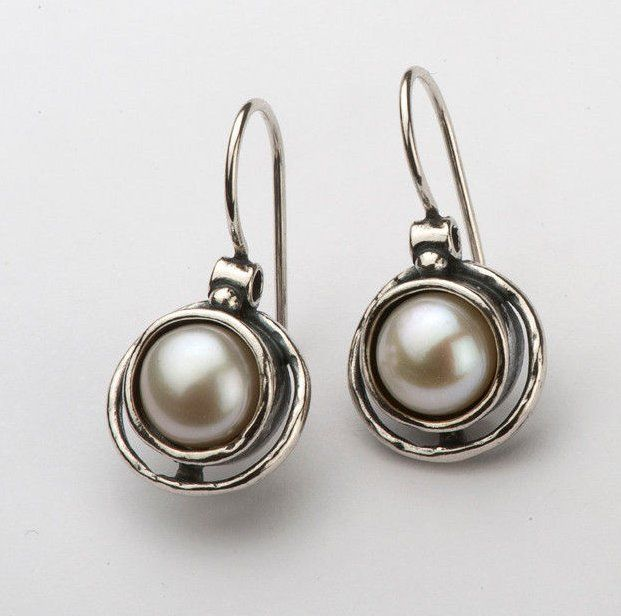 Amazing 925 Earrings fresh water pearls White Dangle Style Sterling Silver Didae