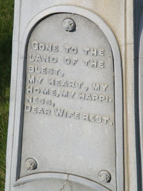 """gone to the land of the blest, my heart, my happiness, dear wife rest"" Rising Sun Cemetery Rising Sun, Iowa"