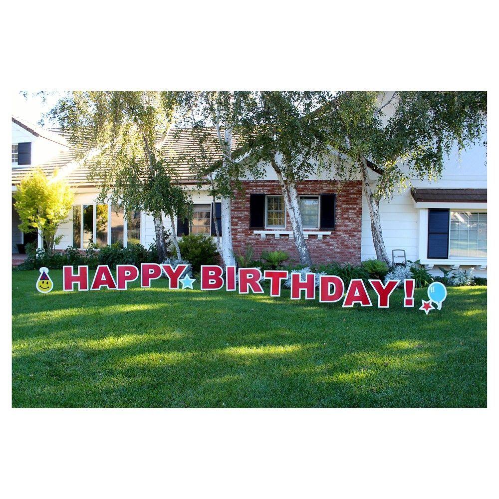 Happy Birthday Red Yard Sign, Farmhouse Red