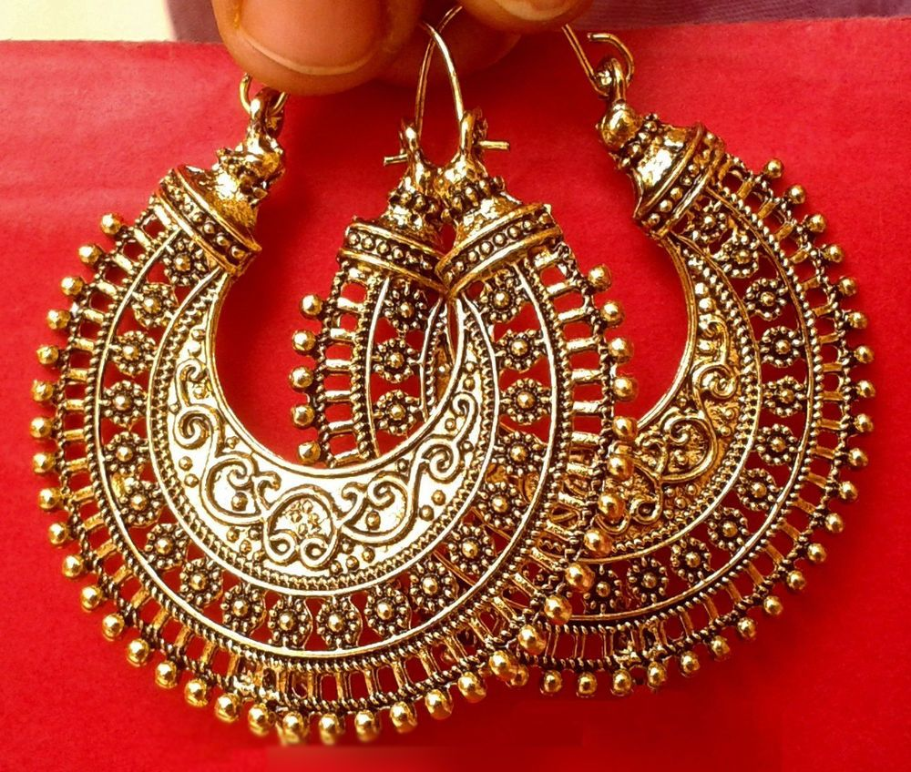 Indian Earrings Bollywood Ethnic Jewelry Gold Tone Oxidized Jhumka